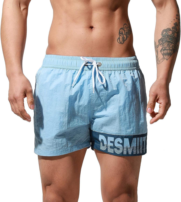 DESMIIT Men's Big Alphabet Quick-Dry Short Board Shorts Loose Trunks Comfort Surfing