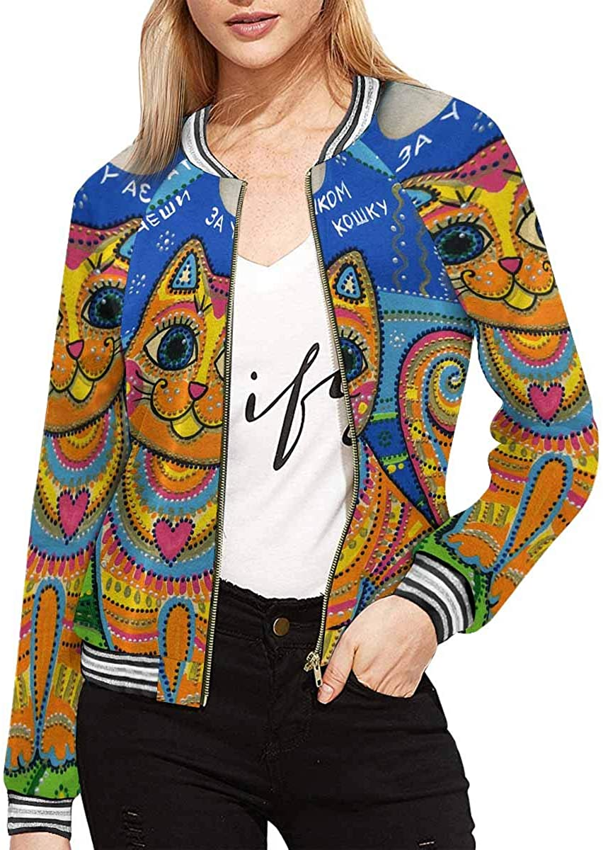 InterestPrint Women's Funny Cartoon Trendy with Owls Sitting on The Brunches Zip Up Baseball Jacket