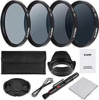 Zacro 52mm 7 en 1 Kit Filtros de Fotografía (ND2 ND4 ND8 ND16Filtros de Accesorios) para Cámara Réflex FigitalLapiz de Lente Funda de Filtro CapuchaTapa de LentePaño Limpieza Incluye