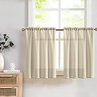TOPICK Lot de 2 rideaux brise-bise semi-transparents en gaze pour cuisine, salon, maison de campagne - 90 x 60 cm - Marron...