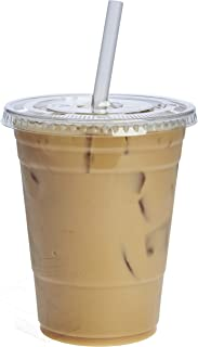 [50 Sets – 16 oz.] Crystal Clear Plastic Cups With Flat Lids