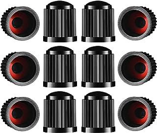 NA Ldawy 12Stück Reifenventilkappen mit rotem Dichtungs O Ring für SUV, Fahrrad, Motorrad, LKW (schwarz)