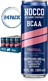 NOCCO BCAA Tropical 24 x 12 Fl Oz Carbonated Sugar-free and Low Calorie Beverage No Carbs Company Vitamin and Caffeine Flavored Carbonated Drinks