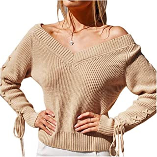 Haloon Women's V Neck Long Sleeve Lace Up Tie Back Pullover Sweater Knit Tops