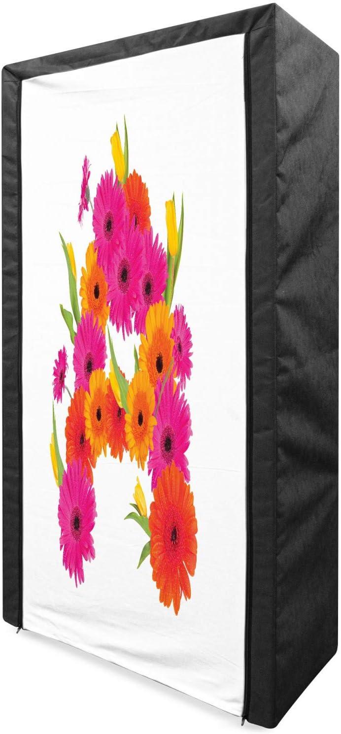 Ambesonne Flower Alphabet Portable Colorful Fabric Wardrobe Reservation Flo supreme