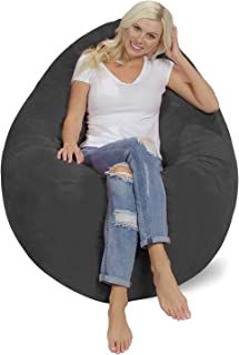 Chill Sack Bean Bag Chair Pillow: Giant Memory Foam Furniture Bean Bag - Big Sofa Soft Micro Fiber Cover - Charcoal