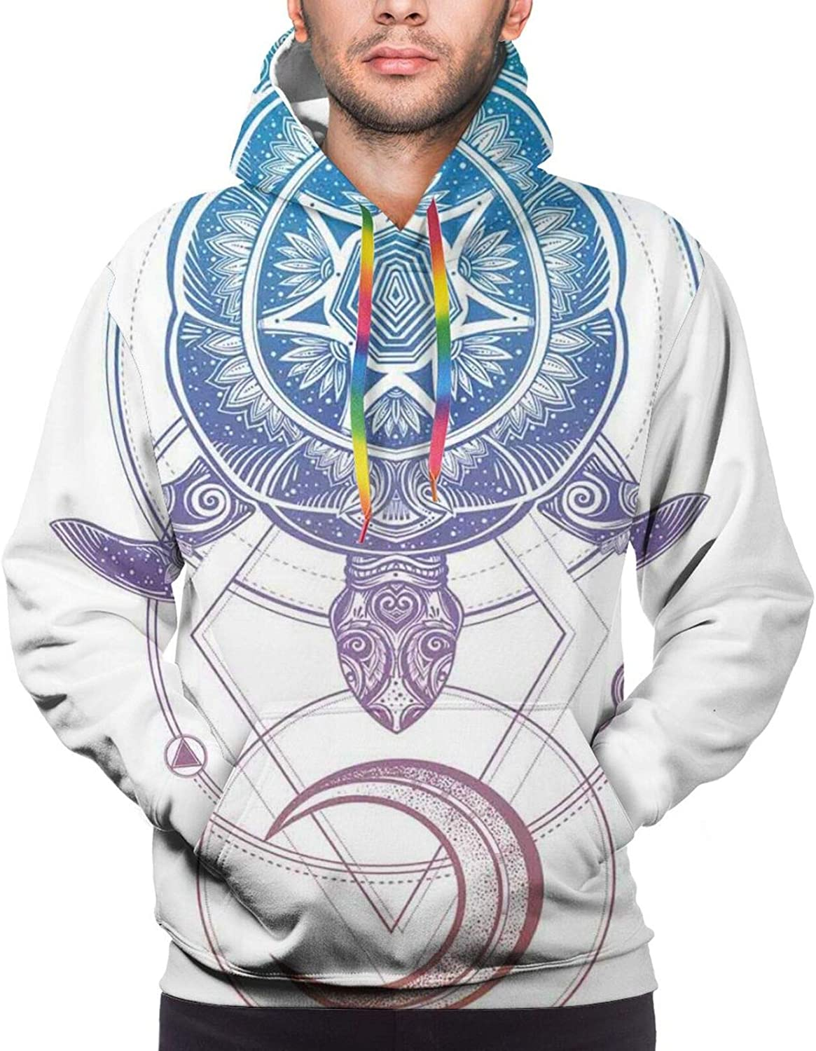 Men's Hoodies Sweatshirts,Sacred Geometry Inspired Design with Crescent Moon Stars and Circle Dashed Shapes