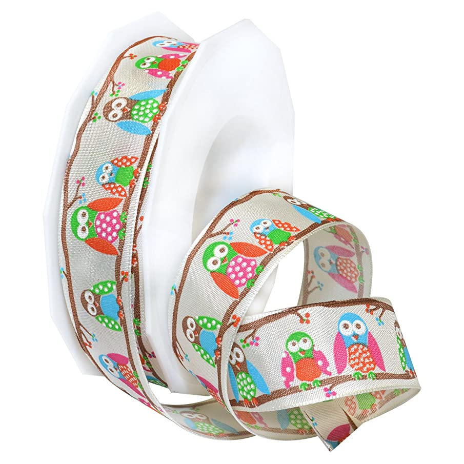 Morex Ribbon 78525/20-104 Rainbow Owl French Wired Polyester Ribbon, 1