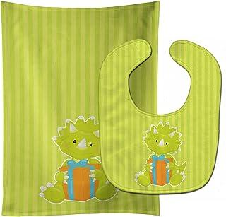 Caroline's Treasures Dinosaur Green No. 2 Baby Bib & Burp Cloth, Multicolor, Large