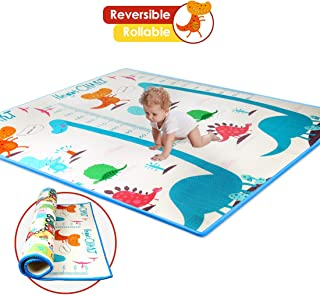 Thick Baby Play Mat, One-Piece Reversible Kids Play Mat XPE Foam, Large Play Mat for Kids Playing or Crawling, Waterproof Nontoxic Foam Playmat for Infants Baby Toddler (Large, Dinosaur+Train)