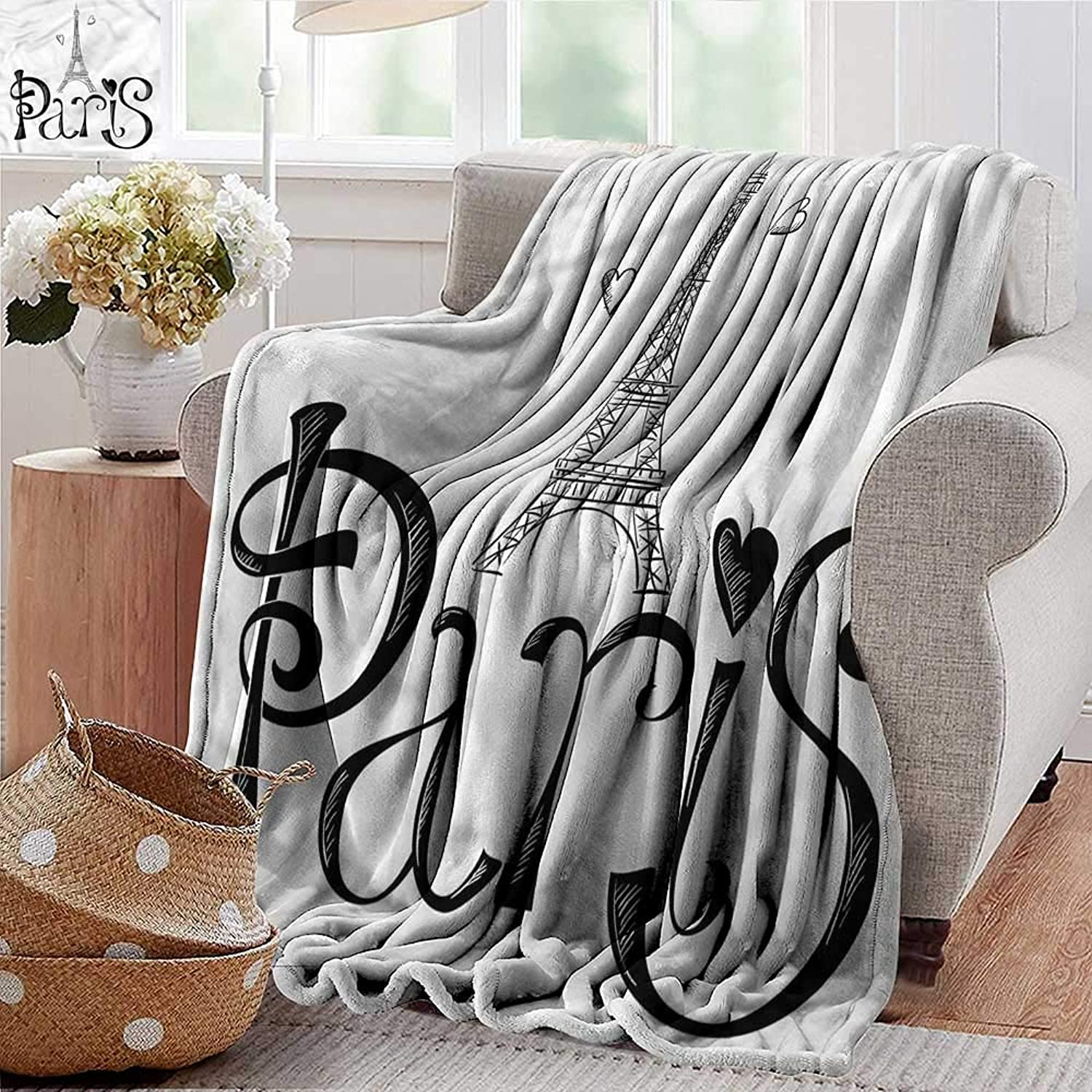 Summer Blanket Paris,France Heart Shapes Vacation Weighted Blanket for Adults Kids, Better Deeper Sleep 35 x60