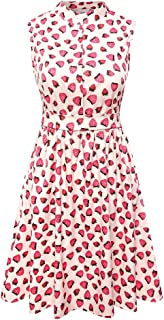 Enfei Women's Strawberry Prints Vintage Dress A-line Cute Swing Party Dresses