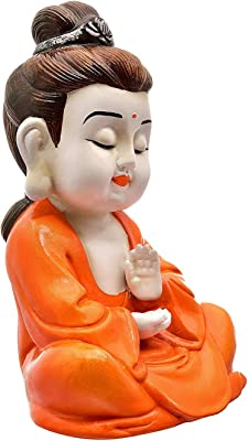 Karigaari India Orange Color Buddha In Meditating Posture For Gifting & Home Decor