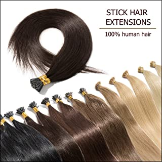"""Pre Bonded Cold Fusion Hairpiece I Tip Hand-Tied Hair Extensions Human Hair Dark Brown 18 Inch Soft Straight Remy Hair Stick Shoelace Tips—18"""", 2, 50g, 100 Strands"""