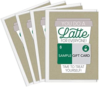 Coffee Gift Card Holders | Set of 4 Cards with Envelopes | Appreciation Gifts for Staff, Employees, Teachers, Mentors | Made in the USA (Thanks a Latte)