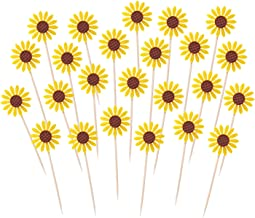 Penta Angel 24Pcs Sunflower Cupcake Toppers Cute Yellow Flower Toothpicks Cake Food Fruit Picks for Summer Baby Shower Wedding Kids Birthday Party Decoration