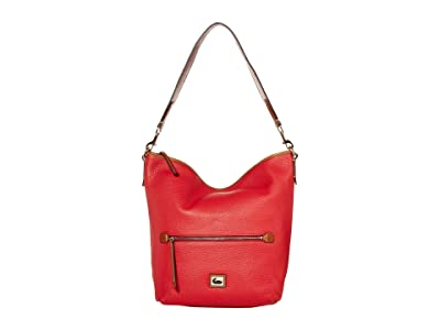 Dooney & Bourke Camden Pebble Hobo (Red/Brandy Trim) Handbags