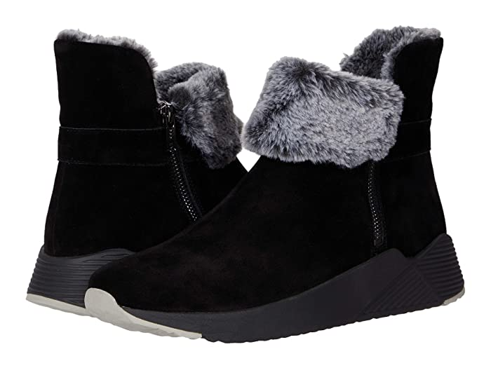 Retro Vintage Style Wide Shoes Vaneli Abril Black NivalBlackGrey Faux Fur Womens Shoes $134.99 AT vintagedancer.com