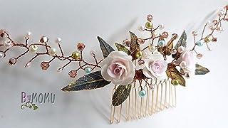 Peineta Sposa Ornamento 3 ROSE per capelli-Fiori Porcellana porcellana porcellana fredda accessori per capelli-pettine per...