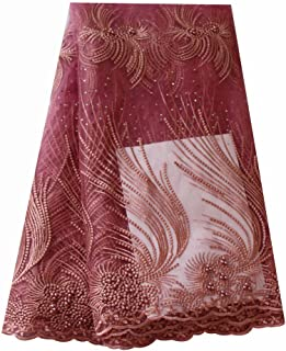pqdaysun African Lace Fabric 5 Yards 2018 Nigerian Lace French Beaded Lace Net Fabric Embroidered Fabric for Wedding Party F721 (Pink)