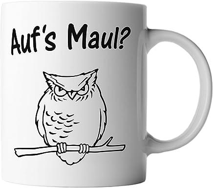 Preisvergleich für vanVerden Tasse Aufs Maul Eule Lustiger Uhu Funny Grumpy Owl plus Geschenkkarte, Farbe:Weiß/Schwarz