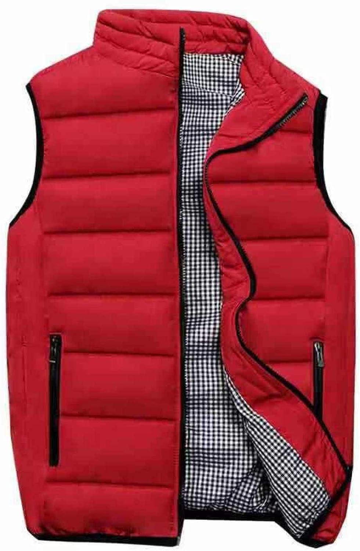 Men's Winter Vest Jacket Polyester Quilted Water-Resistant Gilet Winter Travel With Zipper Pockets Waistcoat Jacket