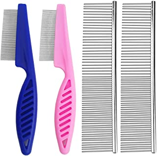 Set of 4, Professional Pet Grooming Comb, SourceTon Stainless Steel Combs for Dogs, Cats, and Other Pets