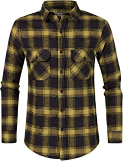 Men's Flannel Shirt Long Sleeved Button-Up Plaid All-Cotton Brushed Shirt