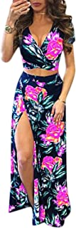 Aro Lora Women's Sexy V Neck Floral Printed Side Slit Two-Piece Maxi Dress