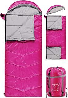 Kids Sleeping Bag for Camping, 32-77 Degree 3 Season Warm or Cold Weather Fit Boys, Girls & Teens Blue/Rose Red