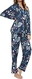 بيجامة TOP-VIGOR للنساء زر أسفل ملابس نوم طويلة الأكمام طباعة الأزهار ملابس النوم 2 قطعة PJs مجموعات السراويل