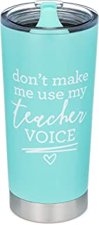 Don't Make Me Use My Teacher Voice - 20 oz Stainless Steel Insulated Tumbler with Swivel Lid (Mint)
