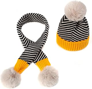Queen.Y Hat Scarf Set,Winter Warmer Striped Hat Scarf Set for 0-3Y Babies Yellow