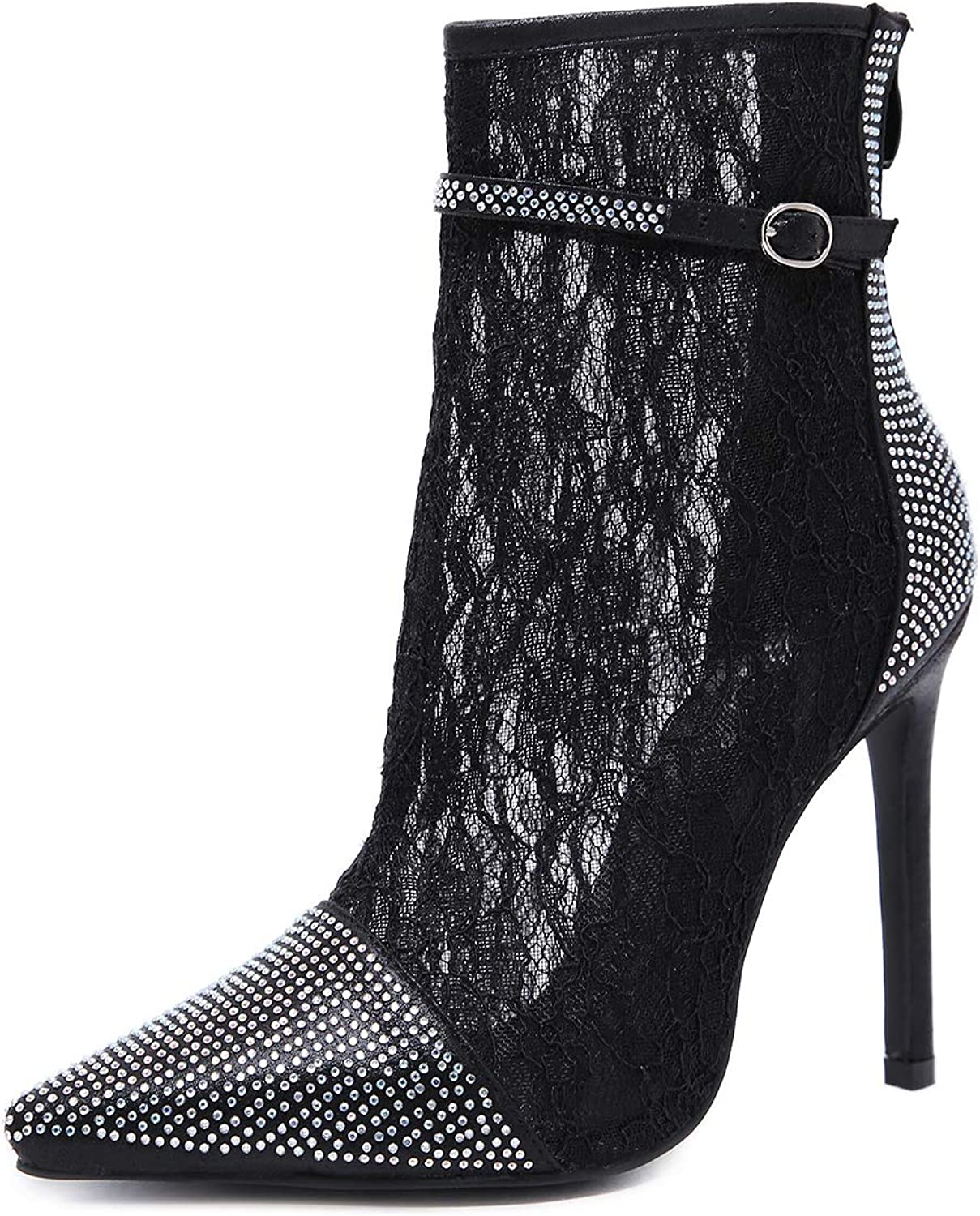 Women's Boots, Stiletto Heels, Pointed shoes, lace Sexy Sandals, Rhinestone Short Boots
