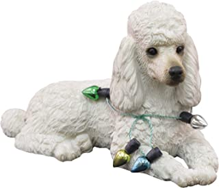 Sandicast White Poodle Wearing Holiday Lights Christmas Ornament