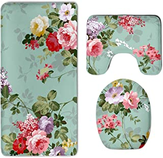 HOMESTORES Shabby Chic Flowers Roses Pedals Dots Leaves Buds Spring Season Theme Bath Mat Bathroom Carpet Rug Washable Non-Slip 3 Piece Bathroom Mat Set
