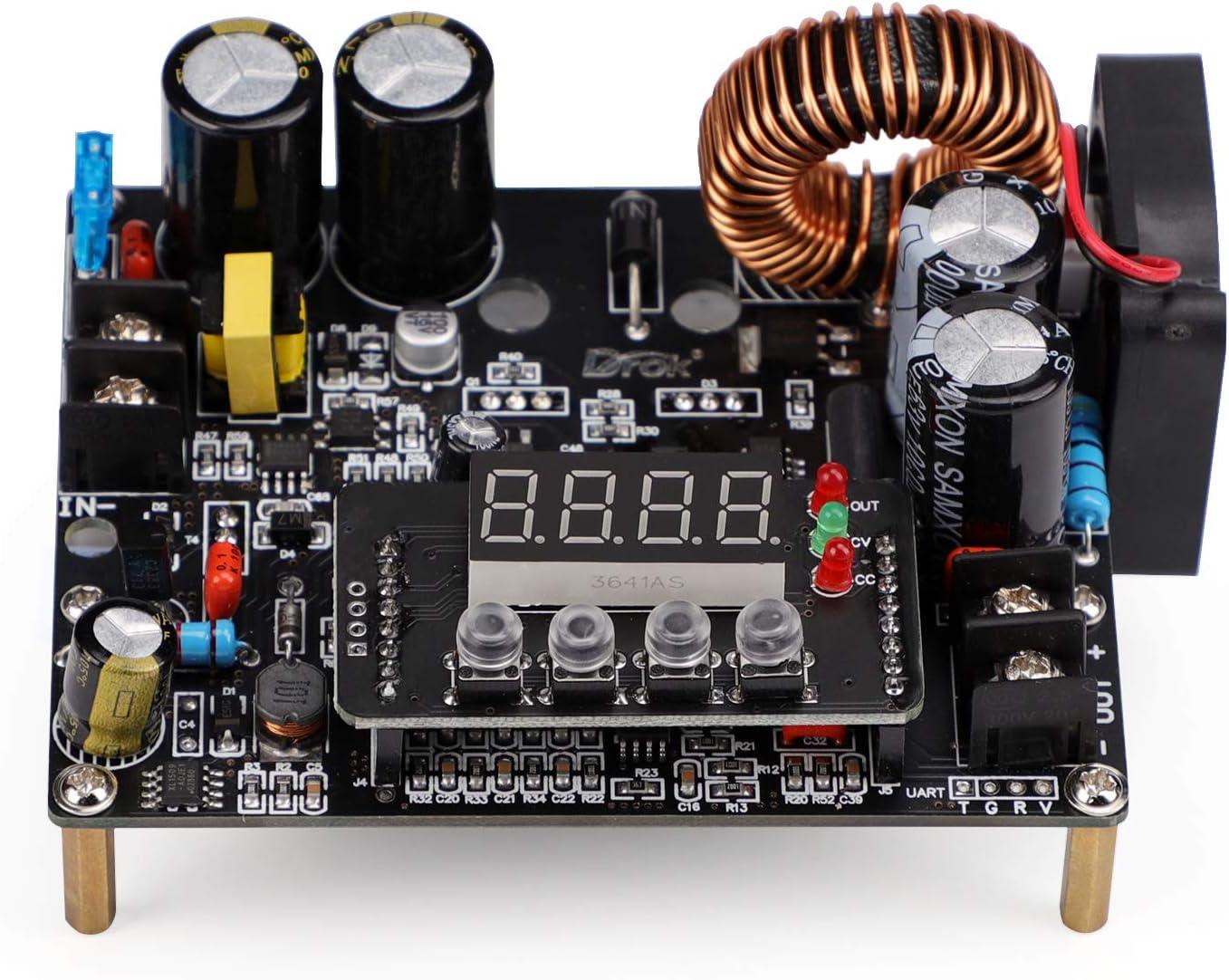 DC Buck Converter, DROK DC to DC Step Down Power Supply Module 10V-65V to 0-60V 0-12A Adjustable Voltage Regulator Transformer Board with LED Display for Volt Reducer