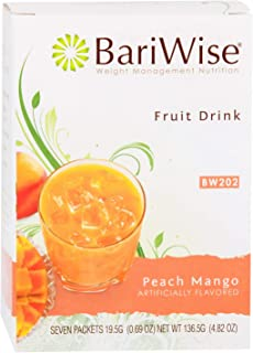 BariWise High Protein Powder Fruit Drink (15g Protein) / Low-Carb Diet Drinks - Peach & Mango (7 Servings/Box) - Fat Free,...