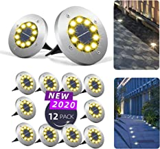 Mega-Loopolis 12 Pack 10 LED Solar Ground Lights Upgrade Ultra Bright lamp Beads Solar Garden Lamp Disk Lights Garden Ligh...