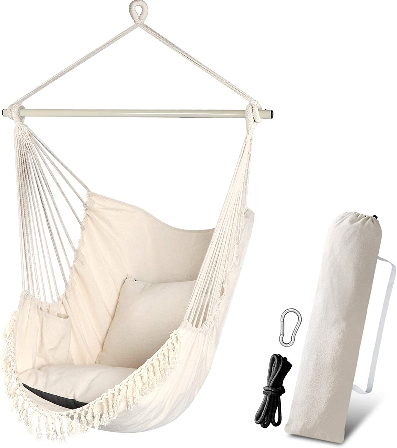 Chihee Hammock Chair Swing 2 Pillows Included,Hanging Chair Durable Metal Spreader Bar Side Pocket Large Hanging Macrame Chair Set Cotton Weave Seat for Soft Comfort Home Garden Indoor Outdoor