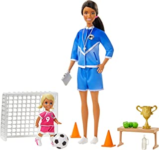 Barbie Soccer Coach Playset with Brunette Soccer Coach Doll, Student Doll and Accessories: Soccer Ball, Clipboard, Goal Ne...