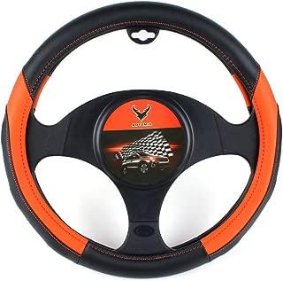 AOTOMIO Black & Orange Car Steering Wheel Cover TPE Material Durable Non-slip Cover Universal 15 inch