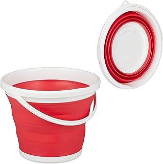 Relaxdays Seau pliable 10 l pour nettoyage de Maison, voiture et camping, rouge