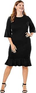 Roamans Women's Plus Size Bell-Sleeve Ponte Dress