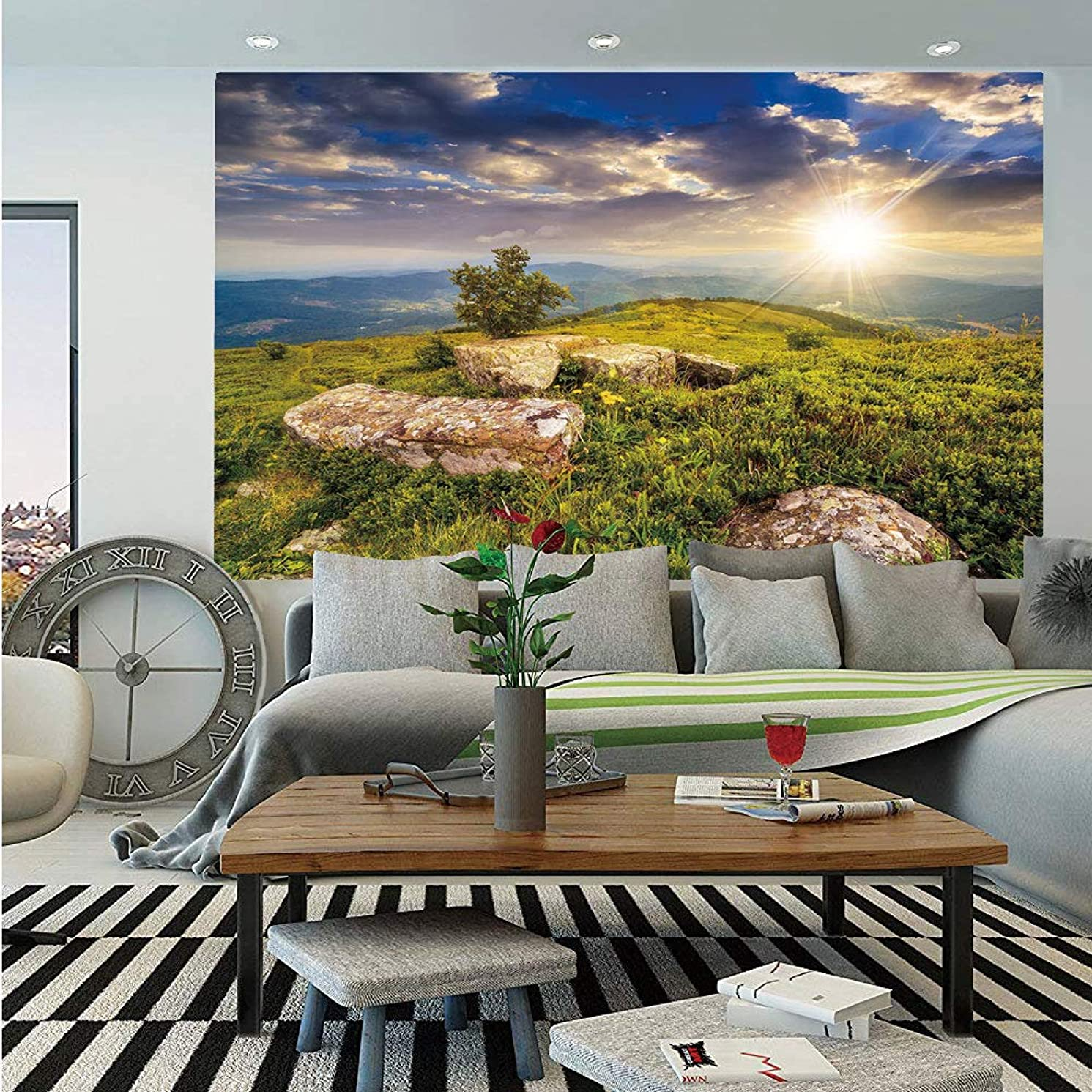Mountain Removable Wall Mural,Small Tree Behind Boulders Hillside Grass Greenery Meadow Scenic Dramatic,Self-Adhesive Large Wallpaper for Home Decor 66x96 inches,Green Yellow Blue