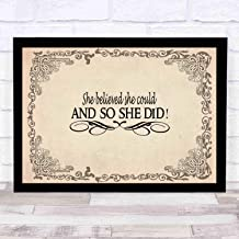 niko-loveyou7 She Believed She Could and So She Did ~by Scripture Wall Art. Girls Room Decor, Great Gift,Size 14x12in(with Frame)