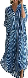قفطان كاجوال فضفاض للشاطئ، فساتين ماكسي طويلة لتغطية ملابس السباحة للنساء من شونوي