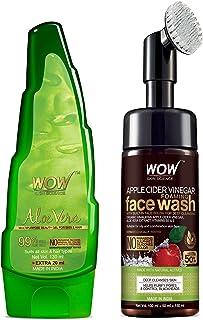 WOW Skin Science Apple Cider Vinegar Foaming Face Wash with Built-in Brush + 99% Pure Aloe Vera Multipurpose Gel - No Para...