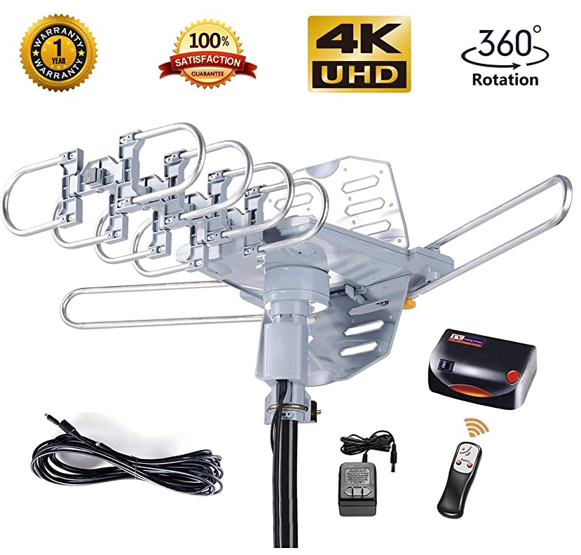 McDuory Amplified Digital Outdoor HDTV Antenna 150 Miles Long Range - 360 Degree Rotation Infrared Control - Tools Free Installation - Support 2 TVs