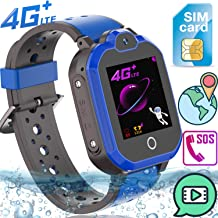 Upgrade Kids Smart Watch Phone 4G LTE GPS Tracker for Boys Girls Toddler [Free SIM Card]Waterproof Watch SOS Remote Alarm Camera Video Chat Step Touch Screen Wrist Watch Birthday Holiday Gifts